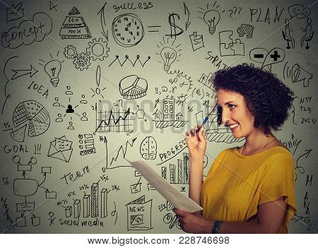 Beautiful Girl Thinking Making Plans Writing Down Ideas