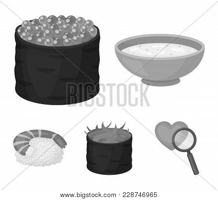 Bowl Of Soup, Caviar, Shrimp With Rice. Sushi Set Collection Icons In Monochrome Style Vector Symbol
