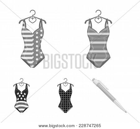 Different Kinds Of Swimsuits. Swimsuits Set Collection Icons In Monochrome Style Vector Symbol Stock