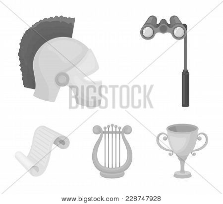 Theatrical Binoculars, A Helmet, A Harp And A Paper Scroll. The Theater Set Collection Icons In Mono