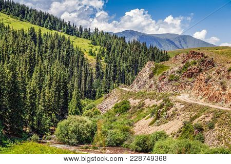Mountain River Turgen On The Plateau Of Assy. Kazakhstan, Almaty Region. In Mountain Rivers You Can