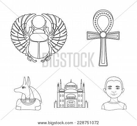Anubis, Ankh, Cairo Citadel, Egyptian Beetle.ancient Egypt Set Collection Icons In Outline Style Vec