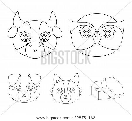 Owl, Cow, Wolf, Dog. Animal's Muzzle Set Collection Icons In Outline Style Vector Symbol Stock Illus