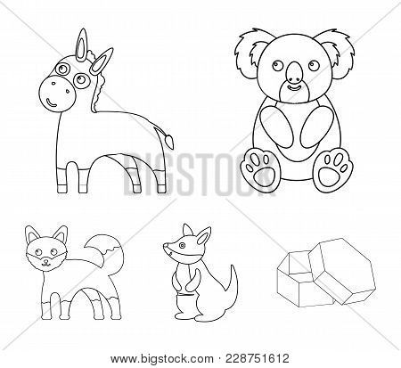 Koala, Donkey, Fox, Kangaroo.animal Set Collection Icons In Outline Style Vector Symbol Stock Illust