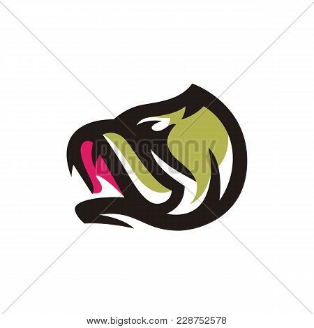 Fish Bass Logo On White Background. Fishing Vector Icon For Sports Team