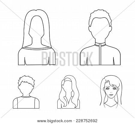 Boy Teenager, Woman Curly, Girl With Long Hair.avatar Set Collection Icons In Outline Style Vector S