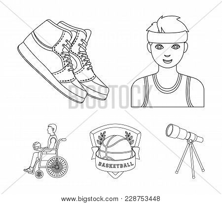 Player, Sneakers, Team Emblem, Basketball Player Disabled. Basketball Set Collection Icons In Outlin