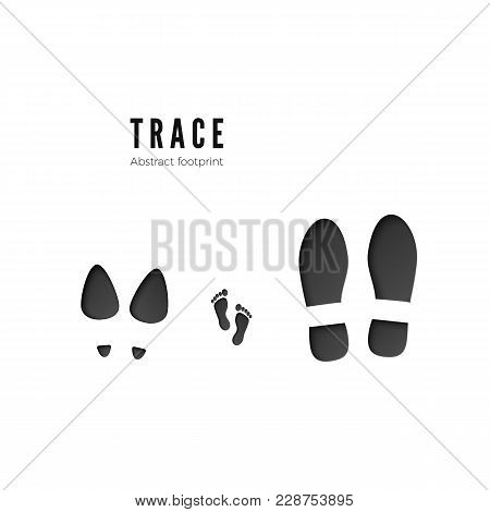 Set Of Male, Female And Child Footprints. Dark Icon Of Foot Print Trace Isolated On White Background
