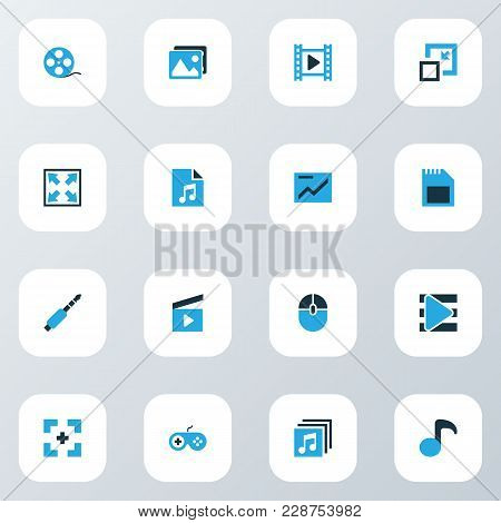 Music Icons Colored Set With Full Screen, Jack, Widen And Other Playlist Elements. Isolated Vector I