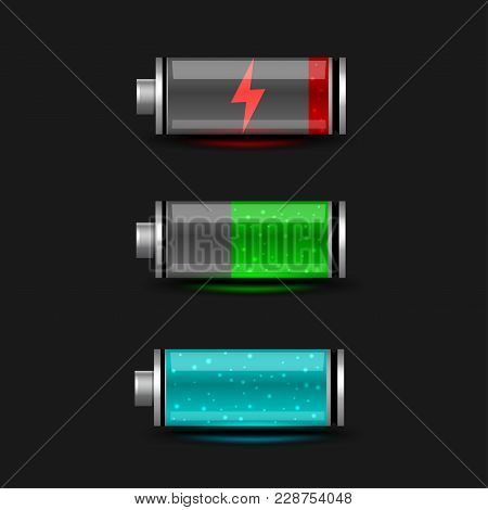 Battery Accumulator Electricity Charger Icon Set On Black Background. Glossy Batteries Collection Wi