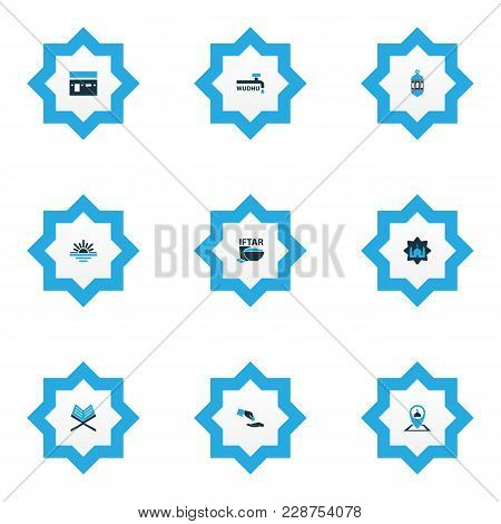 Religion Icons Colored Set With Koran, Masjid, Maghrib And Other Pinpoint Elements. Isolated Vector