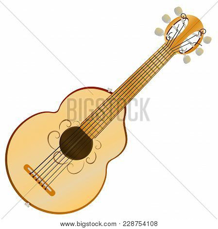 Acoustic Cartoon Guitar With Six Strings. Vector .