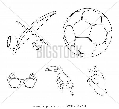Brazil, Country, Ball, Football . Brazil Country Set Collection Icons In Outline Style Vector Symbol