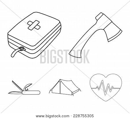 Ax, First-aid Kit, Tourist Tent, Folding Knife. Camping Set Collection Icons In Outline Style Vector