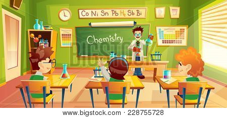 Vector Colorful Background With School Children In Classroom At A Chemistry Lesson. Teacher Holds Fl