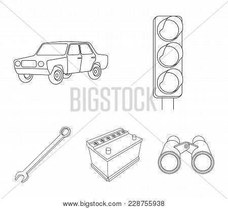 Traffic Light, Old Car, Battery, Wrench, Car Set Collection Icons In Outline Style Vector Symbol Sto