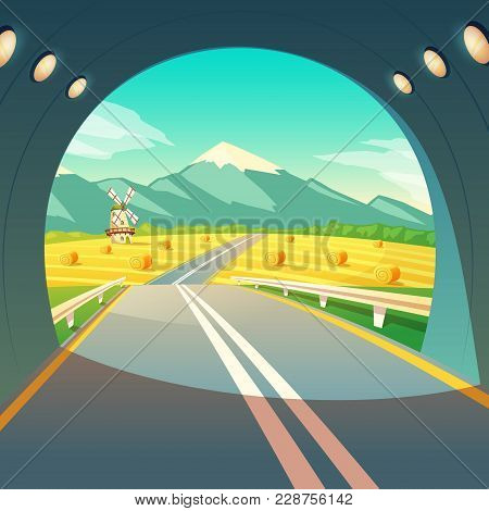 Vector Illustration Of Summer Village Landscape, View From The Exit Of Road Tunnel. Countryside With