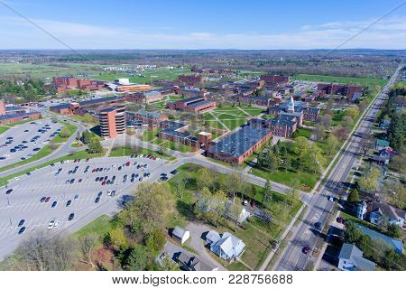 Aerial View Of State University Of New York At Potsdam Suny Potsdam In Downtown Potsdam, Upstate New