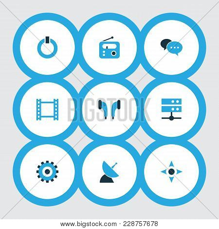 Multimedia icons colored set with controller, radio, earmuff and other datacenter elements. Isolated  illustration multimedia icons. poster