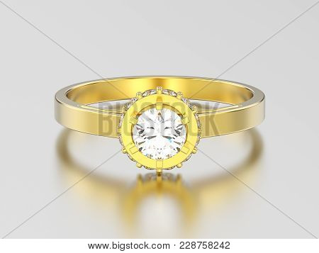 3D illustration yellow gold halo bezel pave diamond ring on a gray background poster