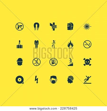 Protection Icons Set With Slippery Area, Welder, Staircase And Other Injury Elements. Isolated  Illu