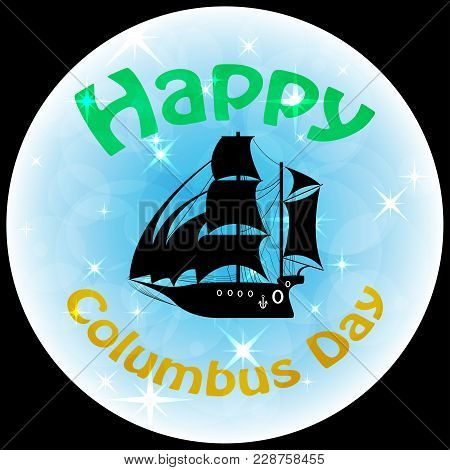 Columbus Day Ship Vector Logo Frigate Icon