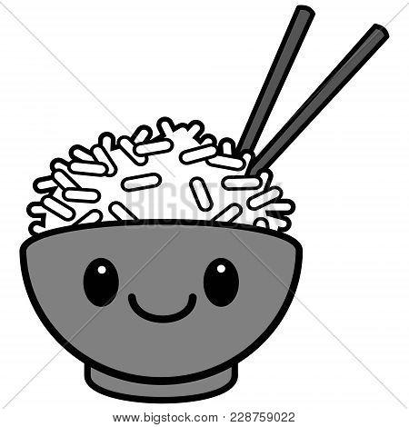 Kawaii Rice Bowl Illustration - A Vector Cartoon Illustration Of A Cute Kawaii Rice Bowl.