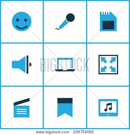 Music Icons Colored Set With Sd Card, Karaoke, Widen And Other Clapperboard Elements. Isolated  Illu