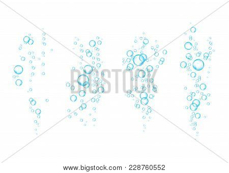 Blue Underwater Fizzing Air Bubbles  Stream On White  Background.