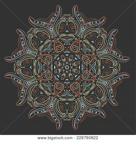 Abstract Colorful Ornament On Gray Background. Illustration 10 Version