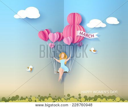 Card For 8 March Womens Day. Abstract Background With Text And Woman Flying With Air Balloons .vecto