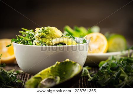 Preparation Of Avocados In Green Salad