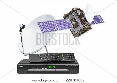 Digital Satellite Receiver With Satellite And Satellite Dish. 3d Rendering  Isolated On White Backgr