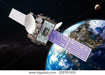 Communication Satellite Orbiting Earth Concept, 3d Rendering