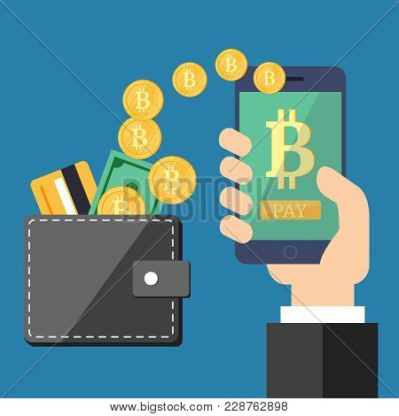 Raising Bitcoin Courses On A Blue Background. A Hand With A Phone And A Leather Wallet With Golden C