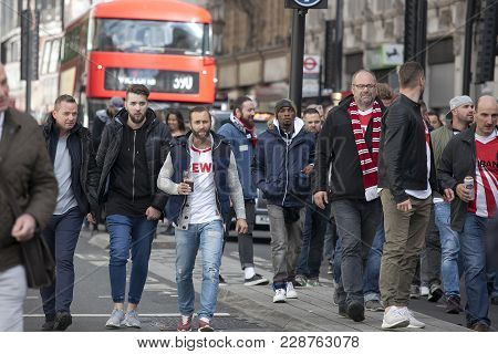 London, England - September 14 2017 During The Day A Large Crowd Of Cologne Fans Marched Through Soh
