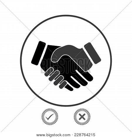 Handshake, Business Partnership. Symbol Of Success Deal, Happy Business Partnership, Agreement. Flat