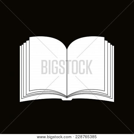 Open Book Vector Clipart Silhouette, Symbol, Icon Design. Illustration Isolated On Black Background.