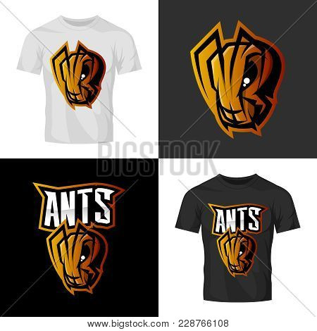 Furious Ant Head Sport Vector Logo Concept Isolated On T-shirt Mock Up. Modern Professional Team Bad