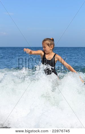 Girl Bathes In  Sea