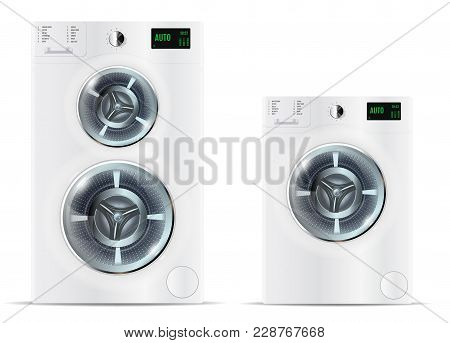 Front Load White Washing Machine And Front Load White Double Was