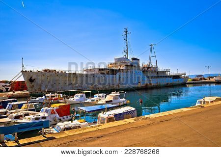 Titov Galeb Ship Wreck Docked, Former Command Ship Of Yugoslavian Army Waitnig For Scrap Yard, Rijek