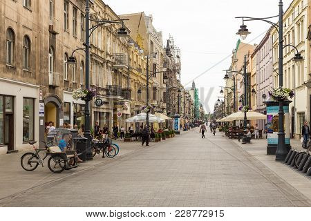 Piotrkowska Street. Main Shopping Street And Representative, Shopping And Entertainment Promenade.