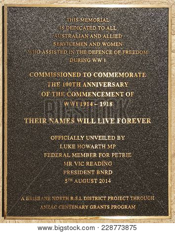 Redcliffe, Australia - February 26, 2018: Plaque On The Obelisk Dedicated To The Servicemen And Wome