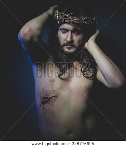 Crucifixion, Jesus of Nazareth, representation of the Calvary of Jesus, son of God. He has the wound on his side and the crown of thorns
