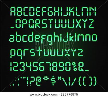 Digital Green Font Isolated On A Dark Background. Glowing Realistic Digital Alphabet. Alarm Clock Le