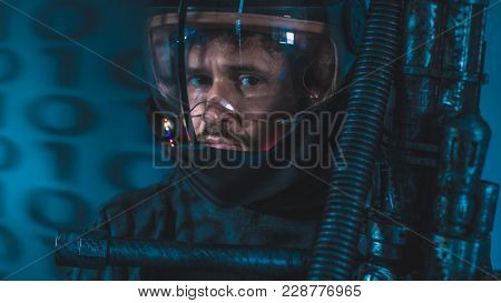 Astronaut, space man with led lights helmet, space suit and gun in the shape of a cannon
