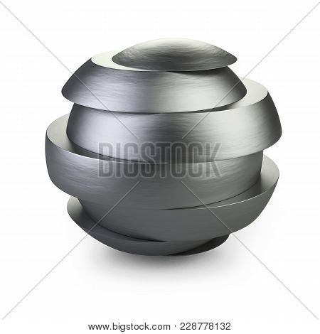 Abstract Metal Sphere Slice Into Pieces With Shift. Cut Steel Ball. 3d Illustration Over White Backg