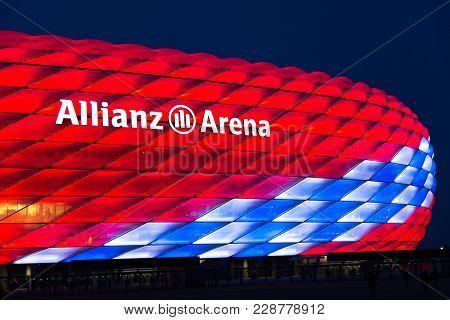 Munich, Germany - 27 February 2018: Allianz Arena Special Illumination For Fc Bayern Munich 118Th Bi