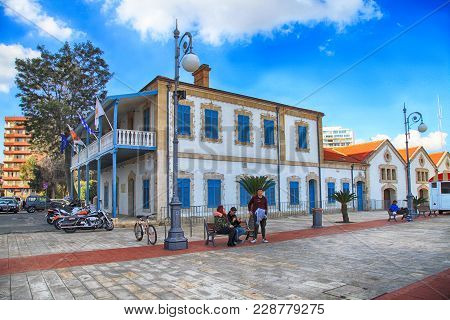 Larnaca, Cyprus - January 6, 2018: Larnaca Municipal Art Gallery On Europe Square In Larnaca, Cyprus
